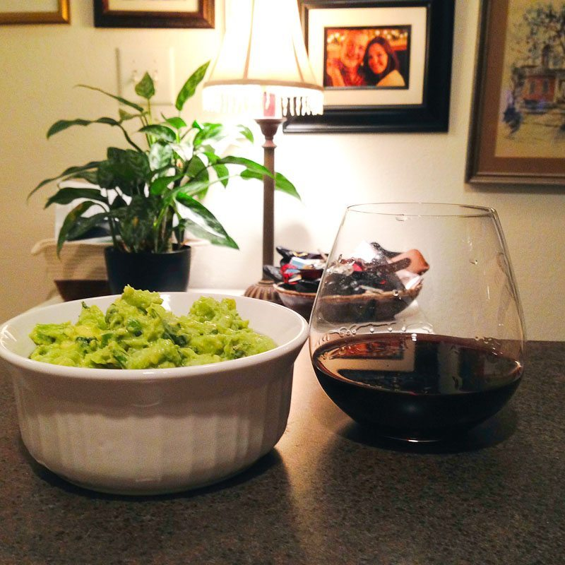 Our winter months are full of date nights IN, which always include guacamole and red wine.